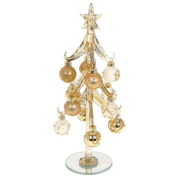 Decorated Glass Christmas Tree with Gold Baubles