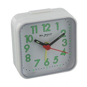 WILLIAM WIDDOP SQUARE ALARM CLOCK - WHITE  5154W