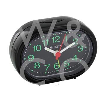 WILLIAM WIDDOP OVAL ALARM CLOCK - BLACK  5155B