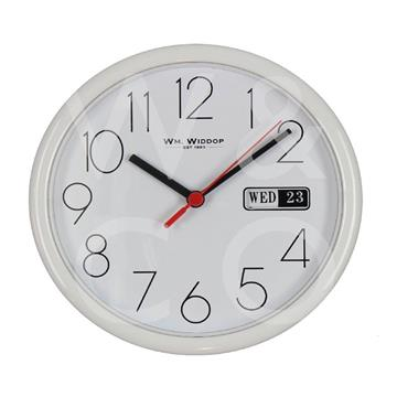 WILLIAM WIDDOP WALL CLOCK WITH DATE - WHITE  5177W
