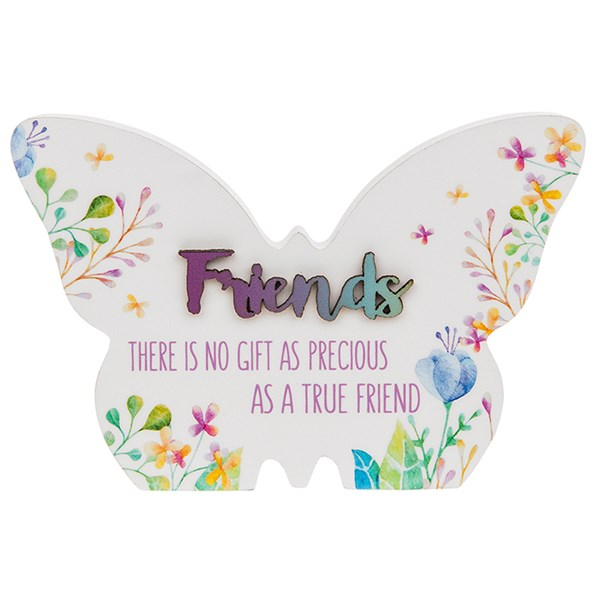 Floral Words Butterfly Plaque Small Friend