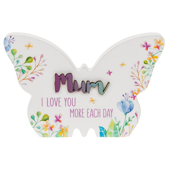 Floral Words Butterfly Plaque Small Mum  rjsmith-son.co.uk