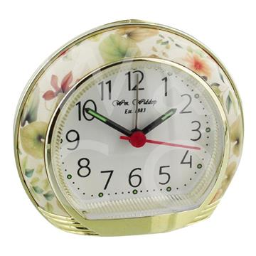 WILLIAM WIDDOP ROUND ALARM CLOCK - YELLOW FLOWER
