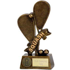 Antique Gold Resin Squash Rackets Trophy A1261