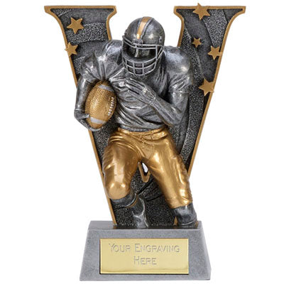 V Series Silver Resin American Football Trophy