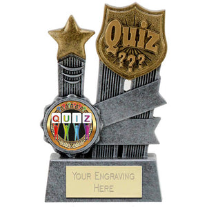 "Silver Ribbon Resin Quiz Trophy 10cm (3 7/8"")"