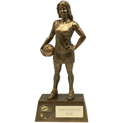 Gold Resin Female Netball Player Trophy  rjsmith-son.co.uk