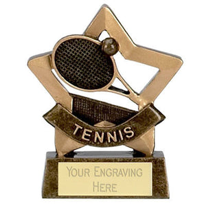 "Gold Mini Stars Tennis Award 8cm (3 1/4"")  rjsmith-son.co.uk"