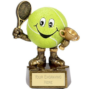 "Resin 3D Smiley Tennis Man Award 10cm (4"")"