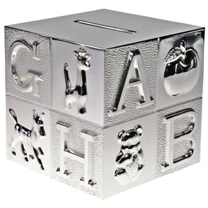 ART218 ABC BLOCK MONEY BOX SILVER PLATED. 10CM HIGH