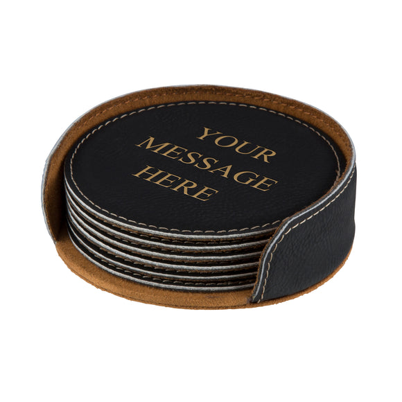 6 Leather Coaster Set & Holder