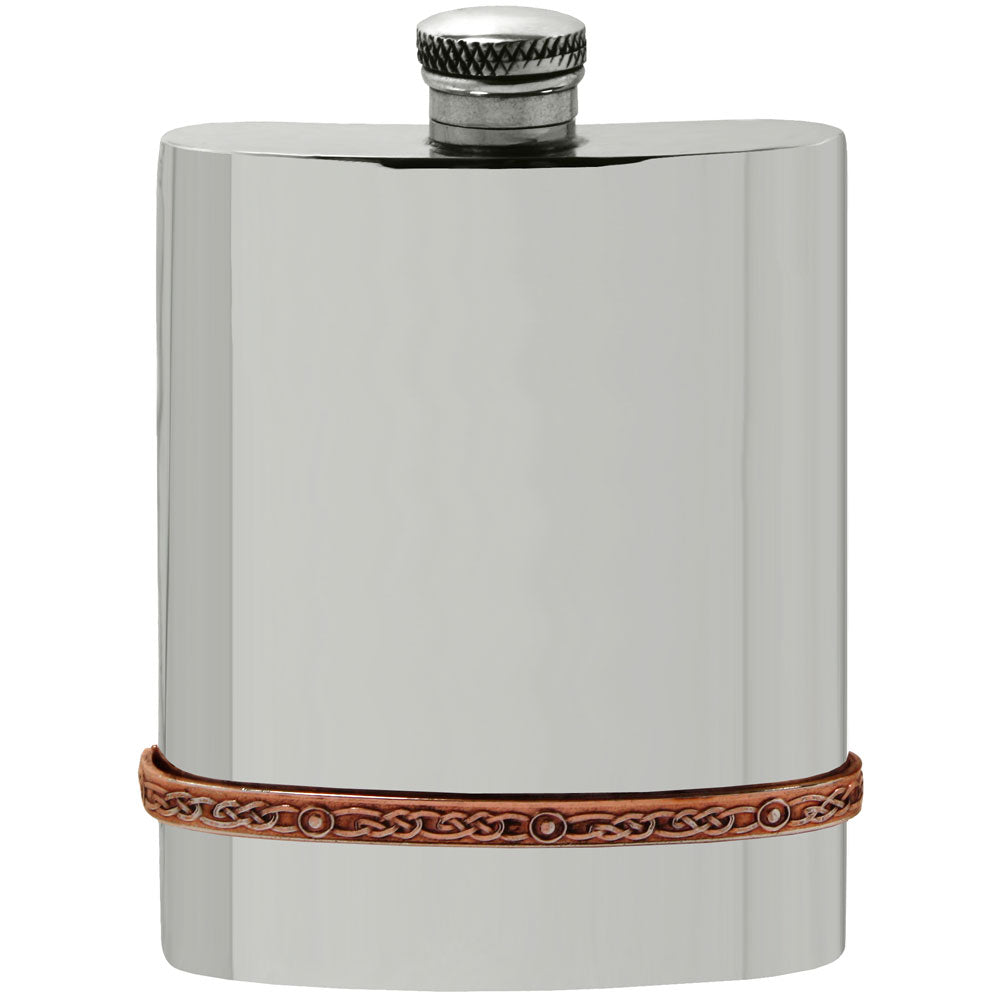 Celtic Rose 6oz Pewter Flask