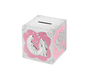 Silver Plated Pink Enamelled Teddy Pattern Cube Money Box
