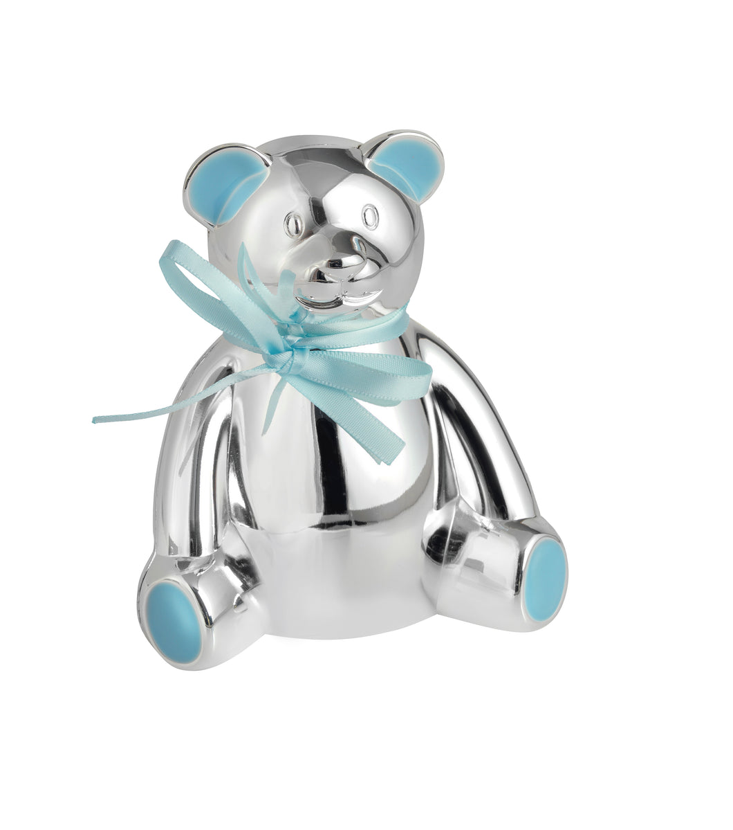 Silver Plated Teddy Bear Money Box with Blue Bow