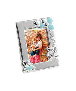 Silver Plated Blue Enamelled Teddy Photo Frame CGW38