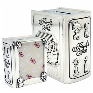 CKL184 NOAHS ARK BOOK MONEY BOX PHOTO FRAME SILVER PLATED 8CM