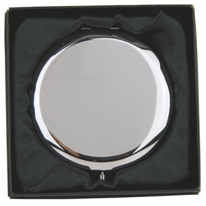 COM134 PLAIN ROUND COMPACT MIRROR HINGED IN GIFT BOX