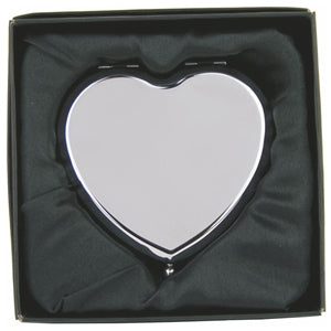 COM136 PLAIN HEART COMPACT MIRROR HINGED IN GIFT BOX