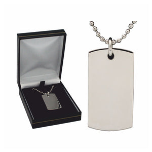 DT1000 PLAIN STAINLESS STEEL DOG TAG ON 55CM BALL CHAIN