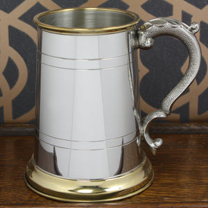 1 Pint Pewter Tankard Georgian Handle Brass Lip & Base EP049