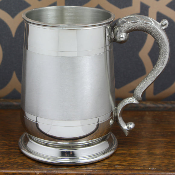 1 Pint Cavalier Satin Band Pewter Tankard EP061 – R J SMITH & SON