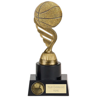 Gold Plastic Basketball Award With A Black Base