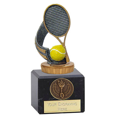 Resin Tennis Award On A Chunky Marble Base