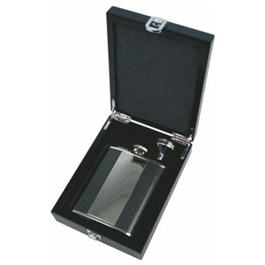 GLY1014 6OZ HIP FLASK SET - VERTICAL PLATE. CARBON FIBRE  rjsmith-son.co.uk