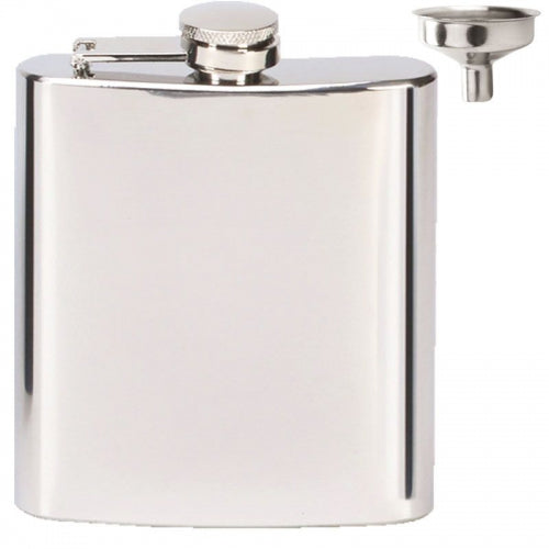 Mirror Polish 6oz Hip Flask with Funnel Set