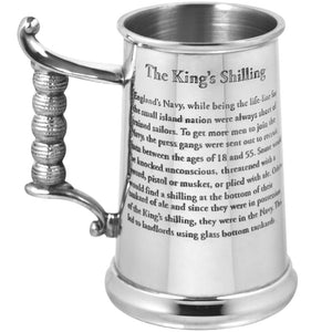 1 Pint Heavy Gauge King's Shilling Pewter Tankard HG170