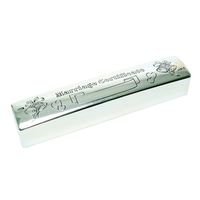 JOE410 MARRIAGE CERTIFICATE HOLDER SILVER PLATED