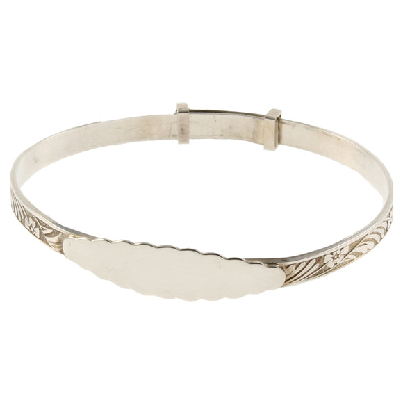 JW001 925 SILVER CHRISTENING BANGLE - OVAL PLATE