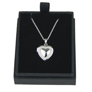 JW009 925 SILVER HEART LOCKET WITH CUBIC ZIRCONIA 18 INCH CHAIN  rjsmith-son.co.uk