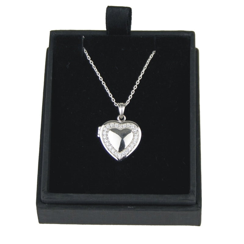 JW009 925 SILVER HEART LOCKET WITH CUBIC ZIRCONIA 18 INCH CHAIN