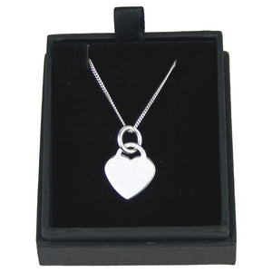 JW011 925 SILVER HEART PENDANT ON 18 INCH CHAIN  rjsmith-son.co.uk