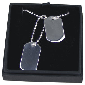 JW013 925 SILVER DOUBLE DOG TAGS ON 20 INCH BALL CHAIN