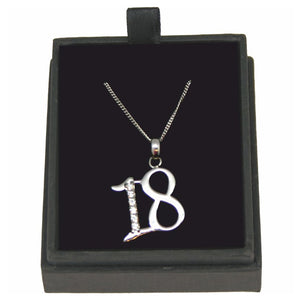JW016 925 SILVER 18 NECKLACE WITH CUBIC ZIRCONIA 18 INCH CHAIN
