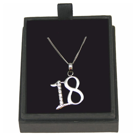 JW016 925 SILVER 18 NECKLACE WITH CUBIC ZIRCONIA 18 INCH CHAIN  rjsmith-son.co.uk