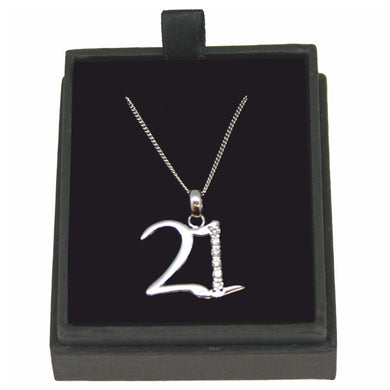 JW017 925 SILVER 21 NECKLACE WITH CUBIC ZIRCONIA 18 INCH CHAIN