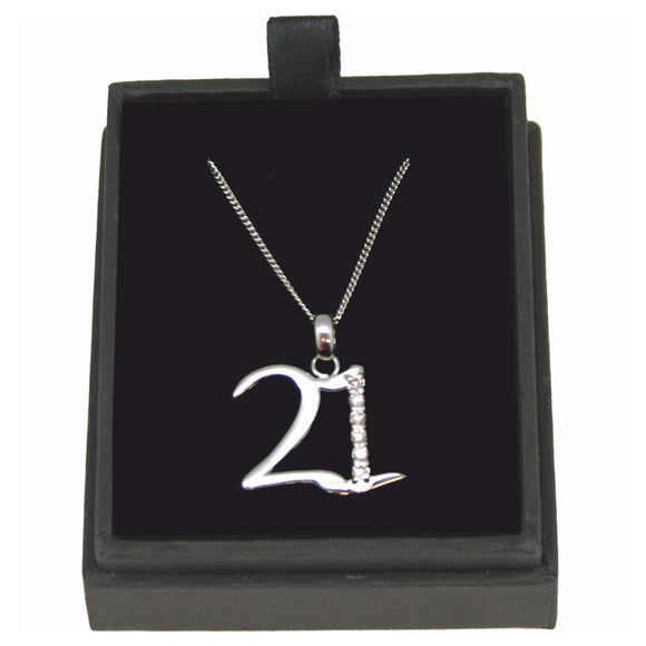 JW017 925 SILVER 21 NECKLACE WITH CUBIC ZIRCONIA 18 INCH CHAIN   rjsmith-son.co.uk