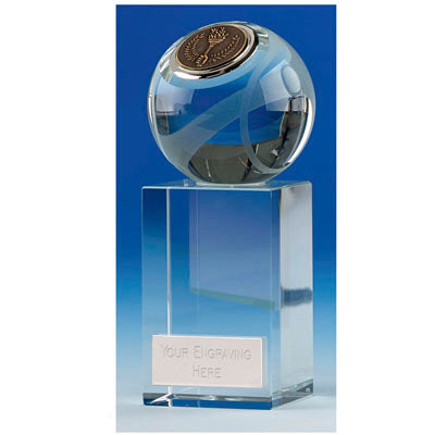 KK 261 3D Crystal Tennis Ball Award With A Chunky Base 13.5cm (5 1/4