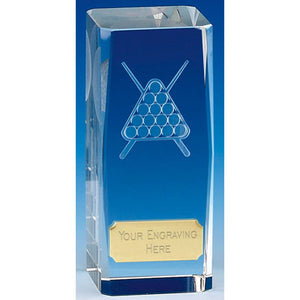 "Clarity Tower Crystal Pool Snooker Award 12cm (4 3/4"") KK317"