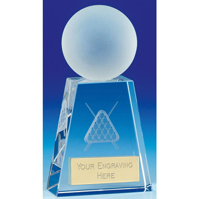 Sherwood Frosted Pool Snooker Flared Base Crystal Award 15cm (5 7/8