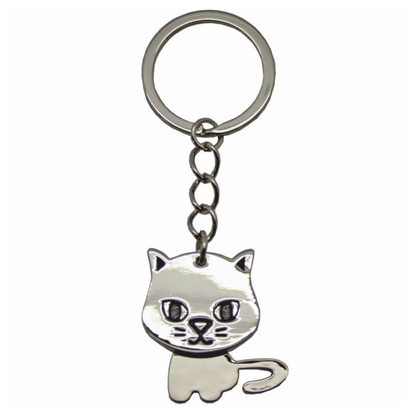 KR948 NODDING CAT METAL KEY RING  rjsmith-son.co.uk