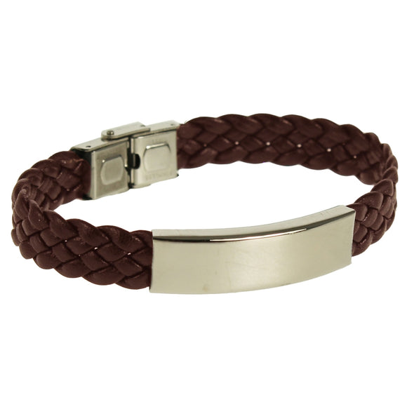 KRLB01BR NARROW WOVEN LEATHER BRACELET BROWN  rjsmith-son.co.uk