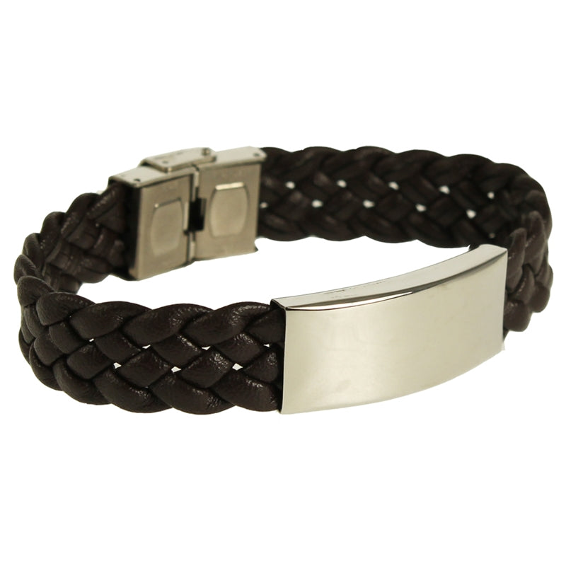 KRLB02BR WIDE WOVEN LEATHER BRACELET BROWN