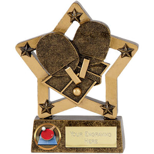 "Gold Resin Star Table Tennis Award 12.5cm (5"")  rjsmith-son.co.uk"