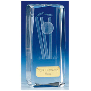 "Clarity Tower Crystal Cricket Award 11.5cm (4 1/2"") OK020"