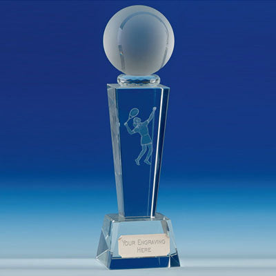 Unite Female Tennis Flared Column Optical Crystal Award 21.5cm (8 1/2