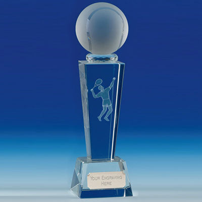 Unite Male Tennis Flared Column Optical Crystal Award 21.5cm (8 1/2